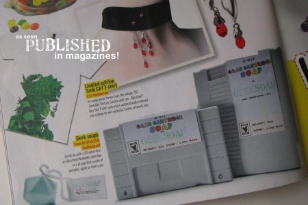 GEEKSOAP published in magazines with the original game cartridge soap