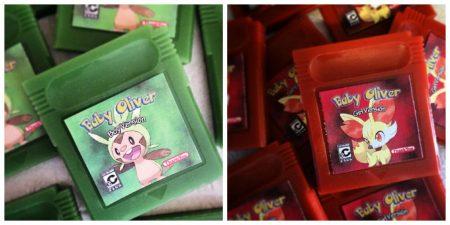 Custom baby shower gameboy handheld game cartridge soap favors by GEEKSOAP.net