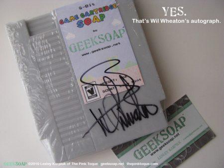 Nintendo NES game cartridge geek soap by GEEKSOAP.net signed by Wil Wheaton
