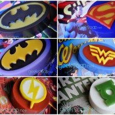 superhero soaps by GEEKSOAP - Batman Superman Batgirl Wonder Woman Flash Green Lantern soap geeksoap.net