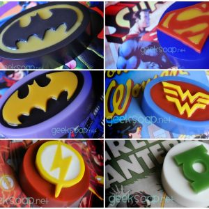 superhero soaps by GEEKSOAP - Batman Superman Batgirl Wonder Woman Flash Green Lantern soap geeksoap.net